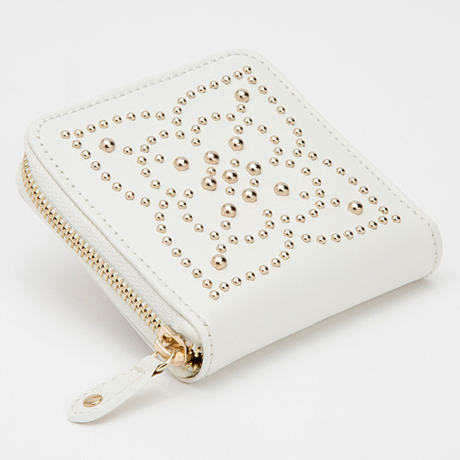 Wolf Cream Leather Studded Marrakesh Travel Case Side View