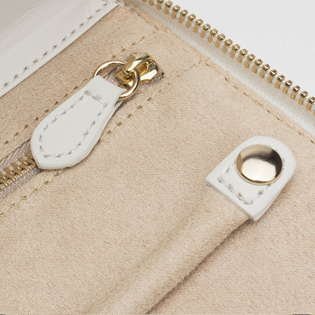 Wolf Cream Leather Studded Marrakesh Travel Case Close Up View