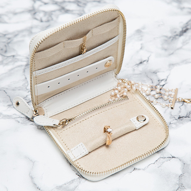 Wolf Cream Leather Studded Marrakesh Travel Case Open Side View