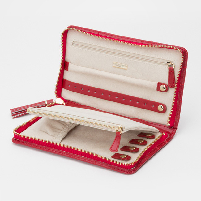 Wolf Red Leather Quilted Caroline Jewelry Portfolio Case Open View