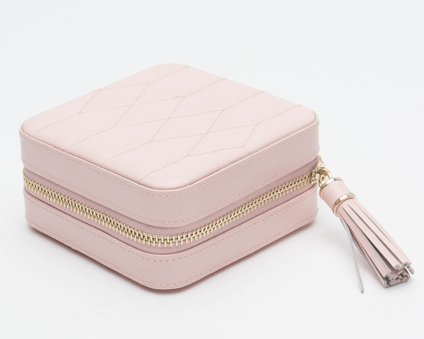 Wolf Caroline Quilted Leather Jewelry Zip Travel Case in Rose Quartz Outside View
