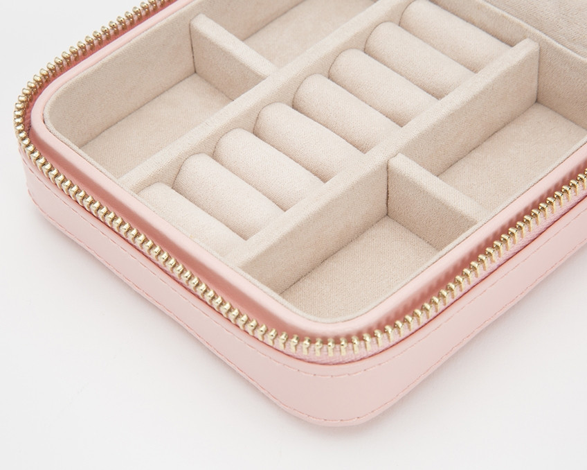 Wolf Caroline Quilted Leather Jewelry Zip Travel Case in Rose Quartz Close Up