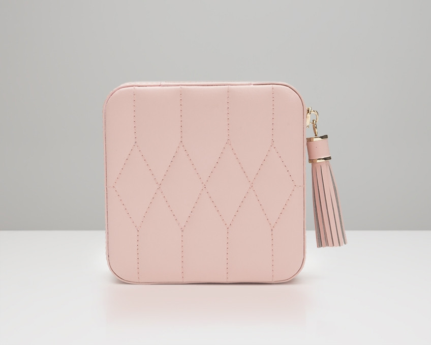 Wolf Caroline Quilted Leather Jewelry Zip Travel Case in Rose Quartz