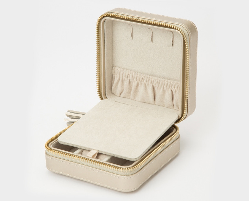 Wolf Caroline Quilted Leather Jewelry Zip Travel Case in Champagne Inside View 2
