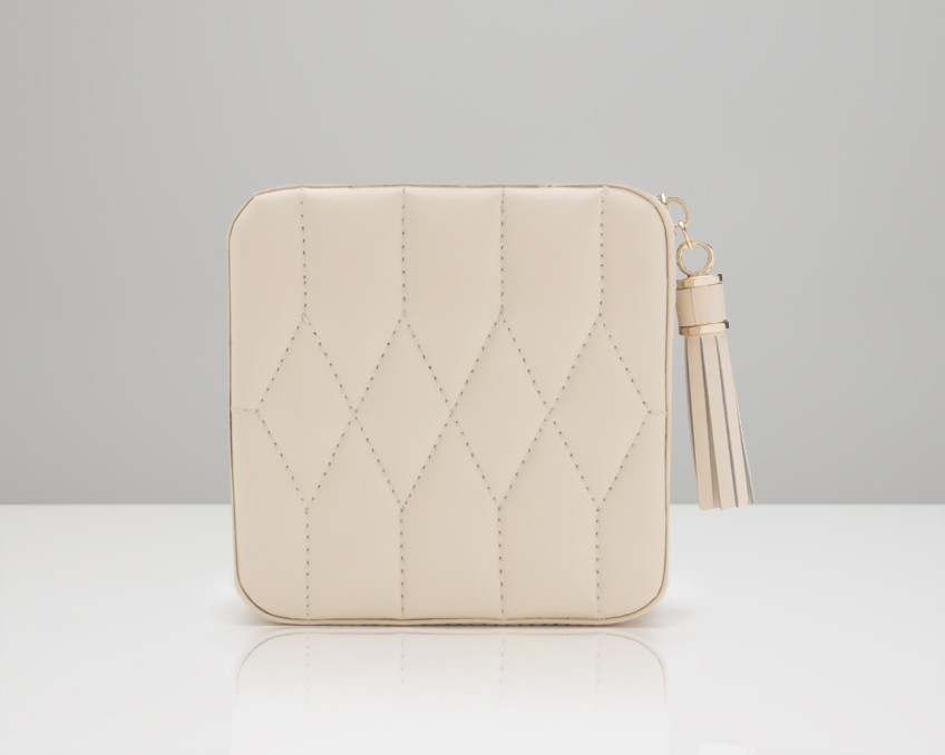 Wolf Caroline Quilted Leather Jewelry Zip Travel Case in Ivory
