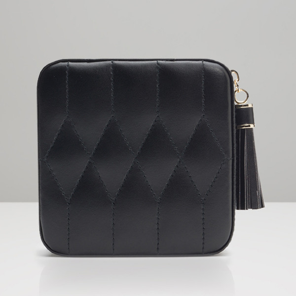 Wolf Black Leather Quilted Caroline Jewelry Travel Case Front View