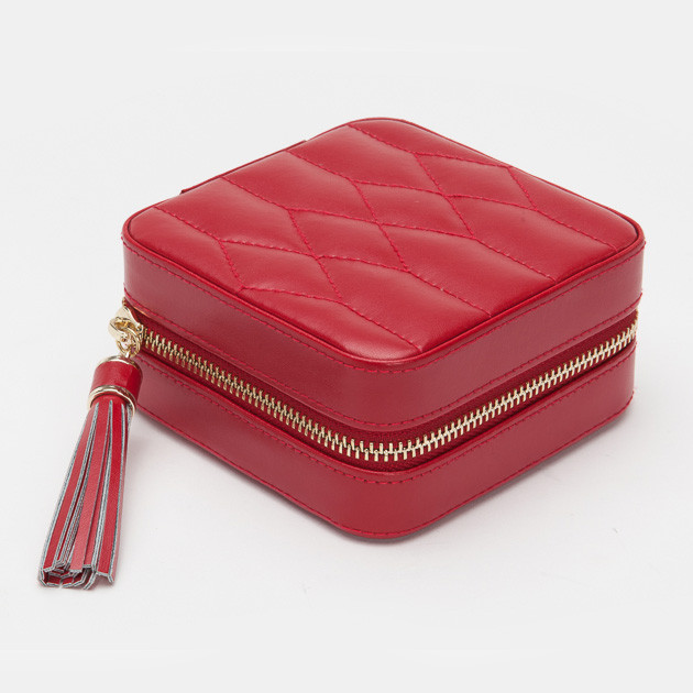 Wolf Red Leather Quilted Caroline Jewelry Travel Case Side View