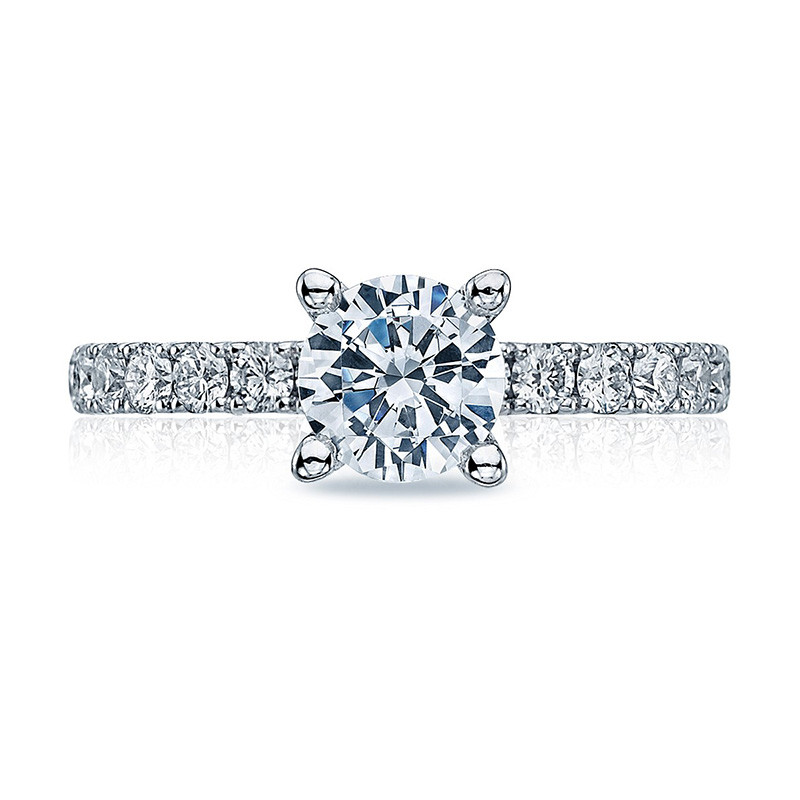 Tacori 33-25RD6.5 French Cut White Gold Engagement Clean Crescent Setting Top View