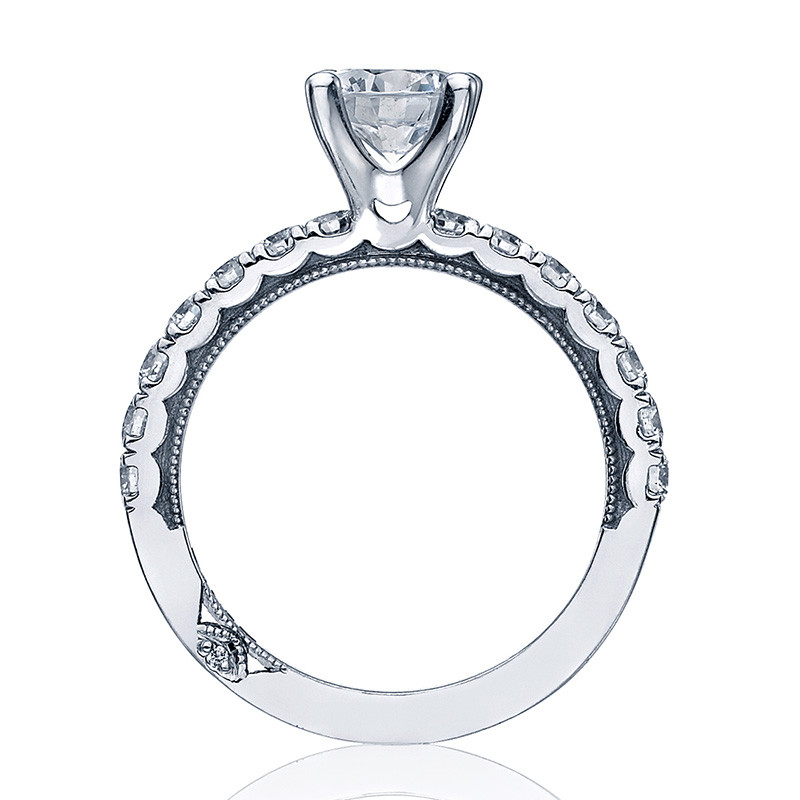 Tacori 33-25RD7 French Cut Platinum Engagement Clean Crescent Setting Edge View