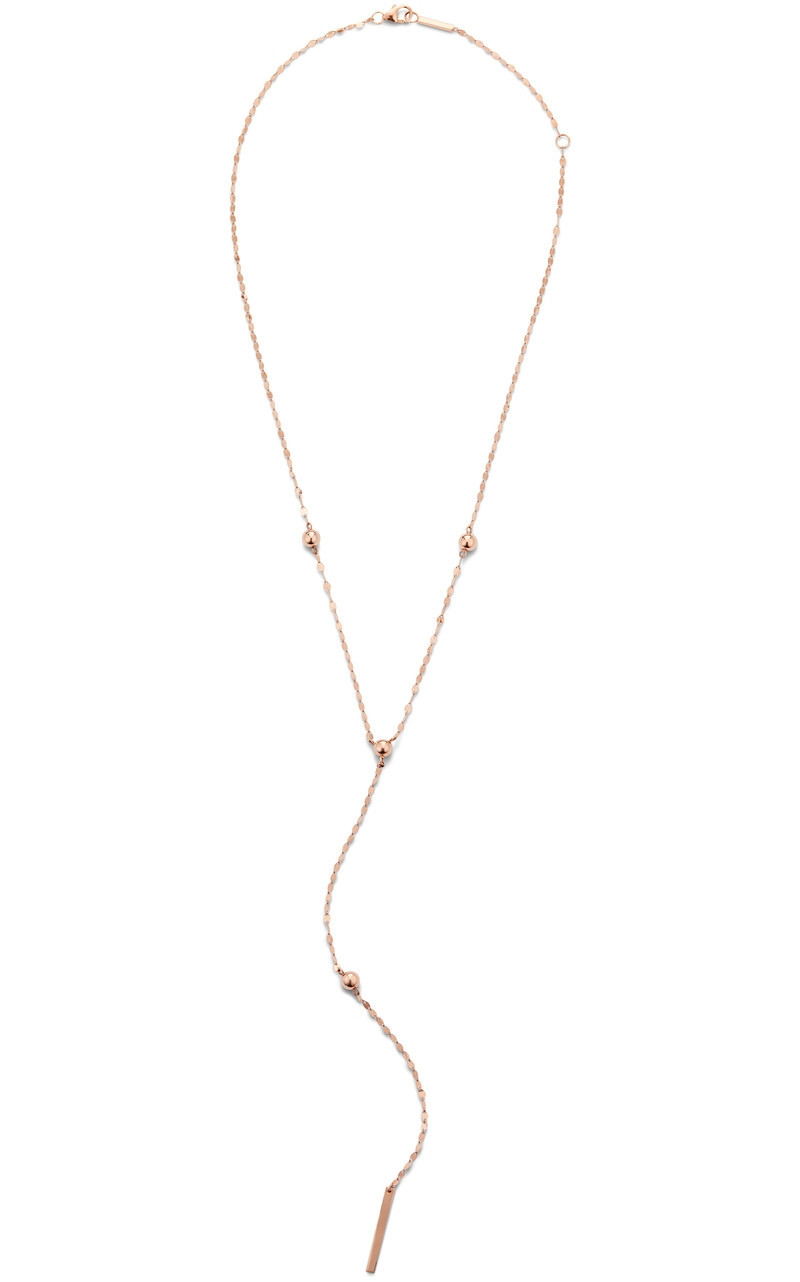 Lana Bead Lariat Necklace in Rose Gold