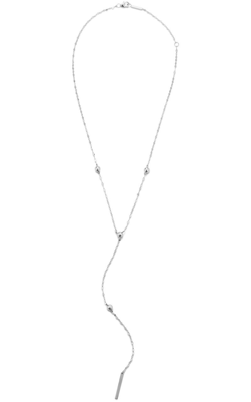 Lana Bead Lariat Necklace in White Gold