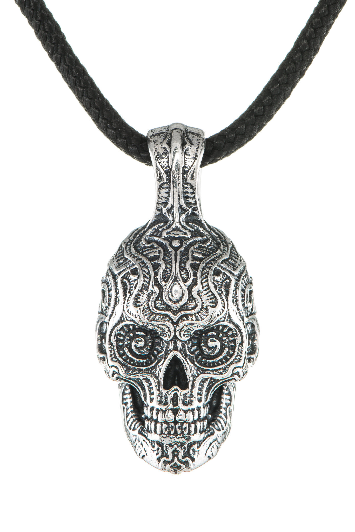 William Henry Renegade Silver Skull Necklace