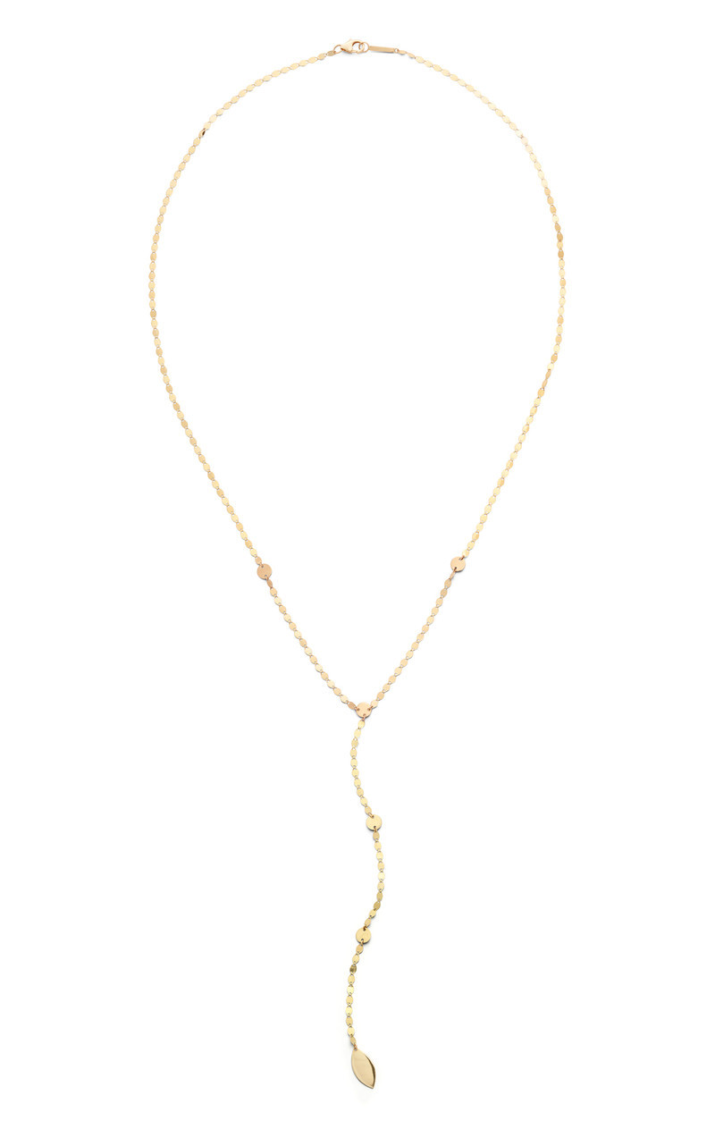 Lana Yellow Gold Lariat Disk Necklace front