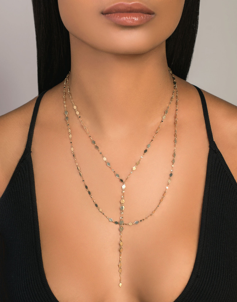 Lana Multi Chain Yellow Gold Lariat Necklace model image