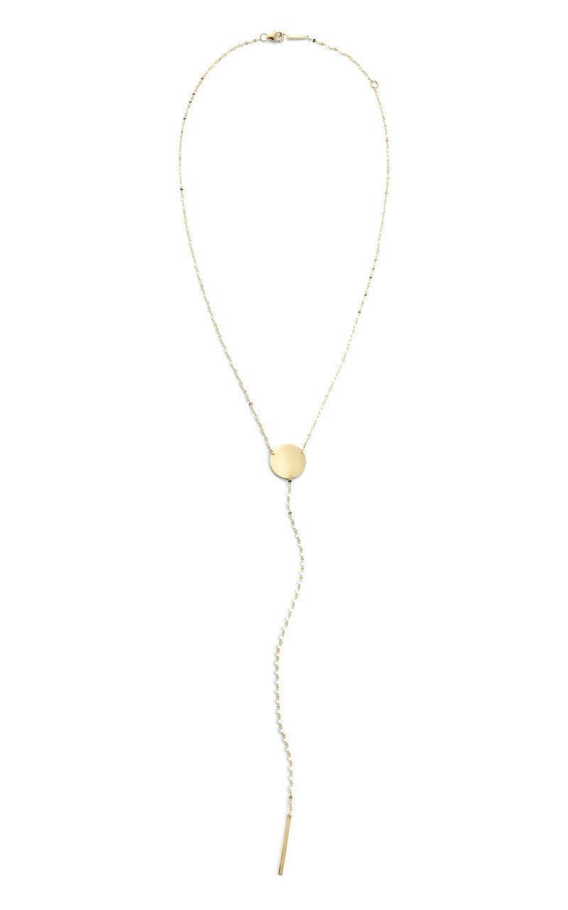 Lana Yellow Gold Charm Lariat Necklace front