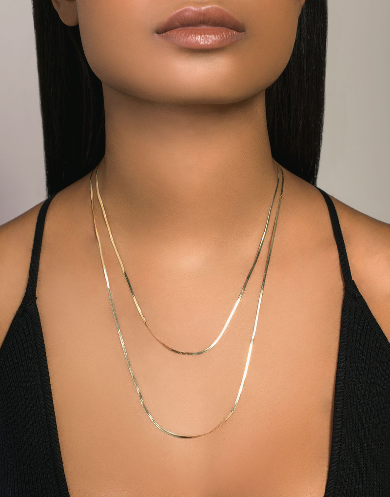 Lana Gold Layered Necklace model