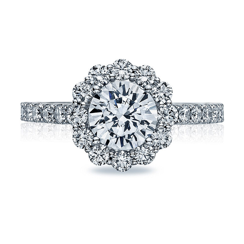 Tacori 37-2RD6 Diamond Half Way White Gold Engagement Full Bloom Setting Top View