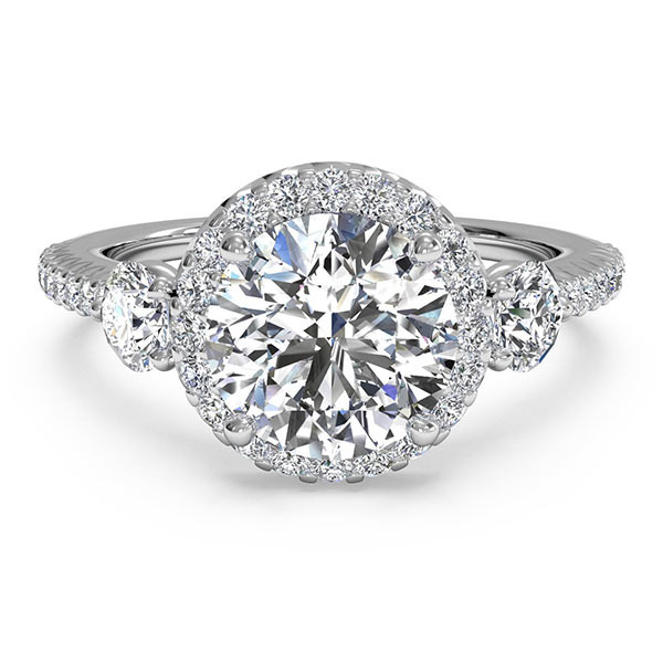 Ritani Halo Three-Stone Diamond Engagement Ring Setting