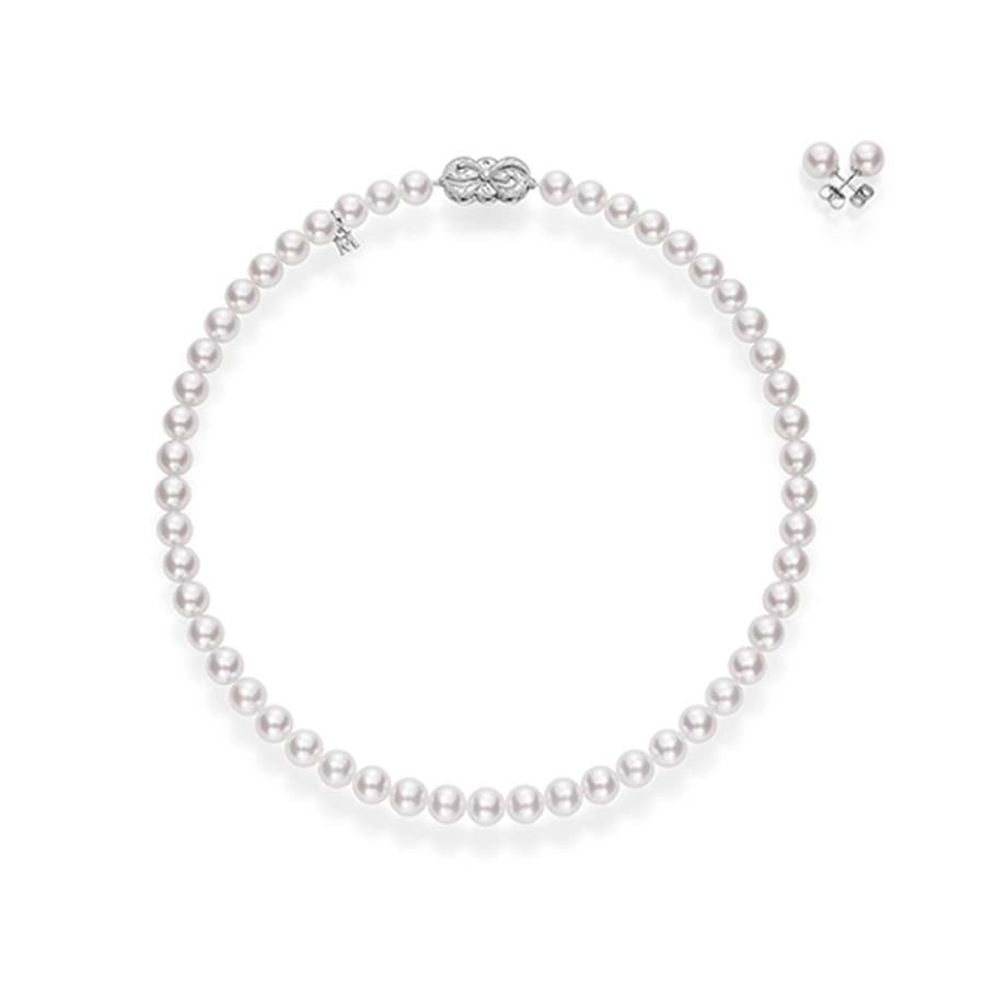 Mikimoto Ginza Pearl 18kt Yellow Gold Box Set Necklace & Earring Set
