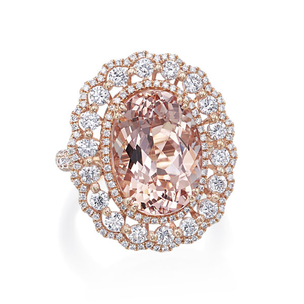 91adcb7ae98f7 Rose Gold Morganite Scalloped Halo Ring