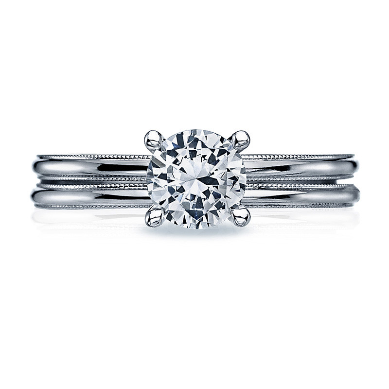 Tacori 40-15RD6.5 Milgrain Solitaire Platinum Engagement Sculpted Crescent Setting with Band