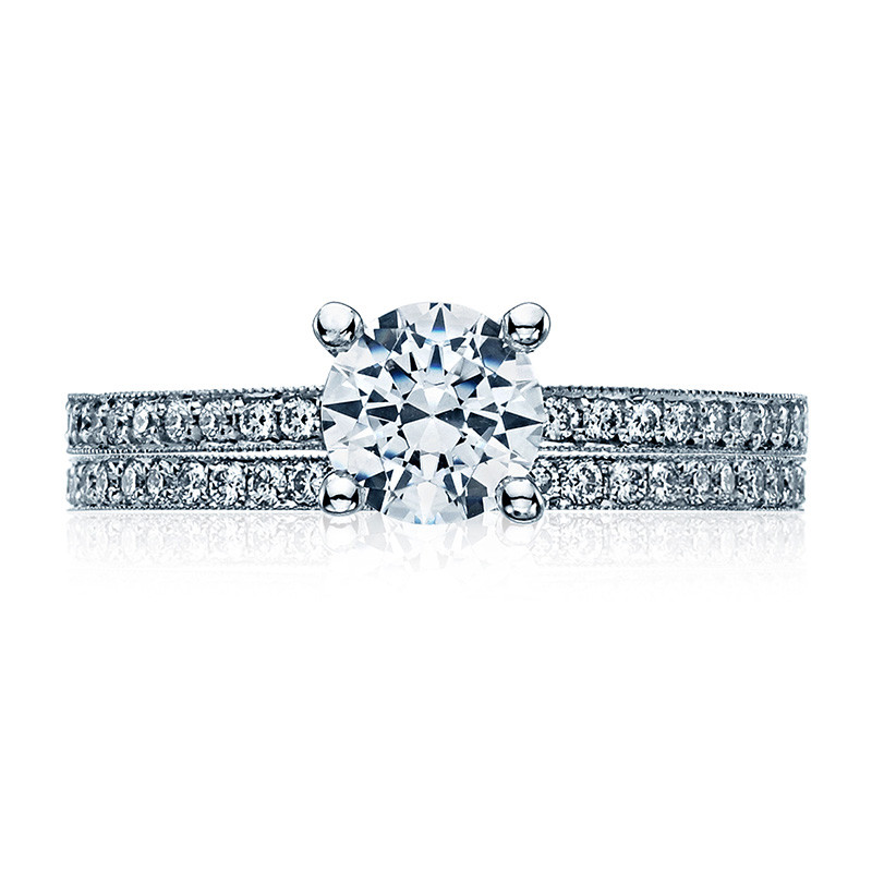 Tacori 41-15RD5 Platinum Milgrain Half Way Engagement Sculpted Crescent Setting with Band
