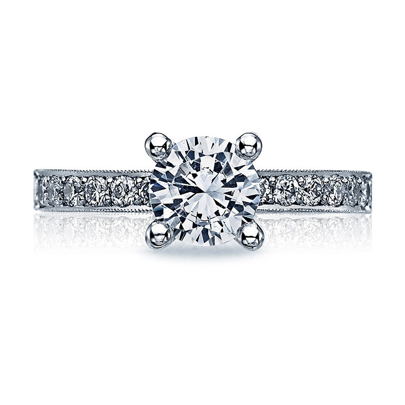 Tacori 41-25RD6 Milgrain Half Way White Gold Engagement Sculpted Crescent Setting Top View