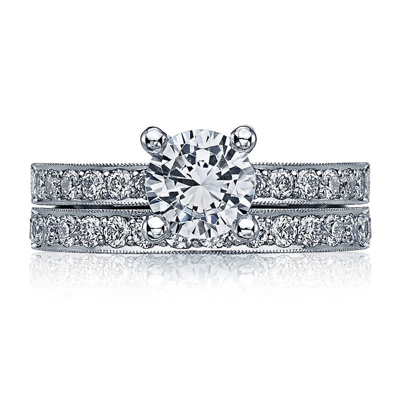 Tacori 41-25RD6 Milgrain Half Way White Gold Engagement Sculpted Crescent Setting with Band