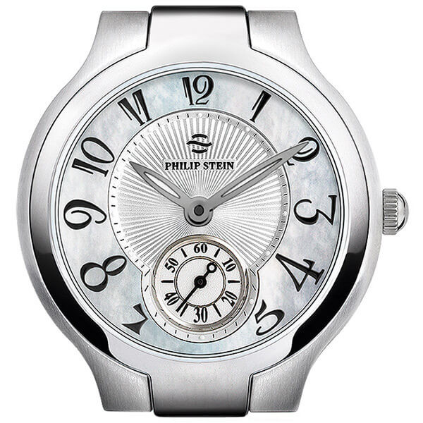 Philip Stein Stainless Steel Signature Round Mother of Pearl Dial Watch (Watch Head Only)