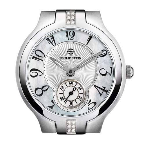 Philip Stein Stainless Steel Round Diamond Lug with Mother of Pearl Dial Watch
