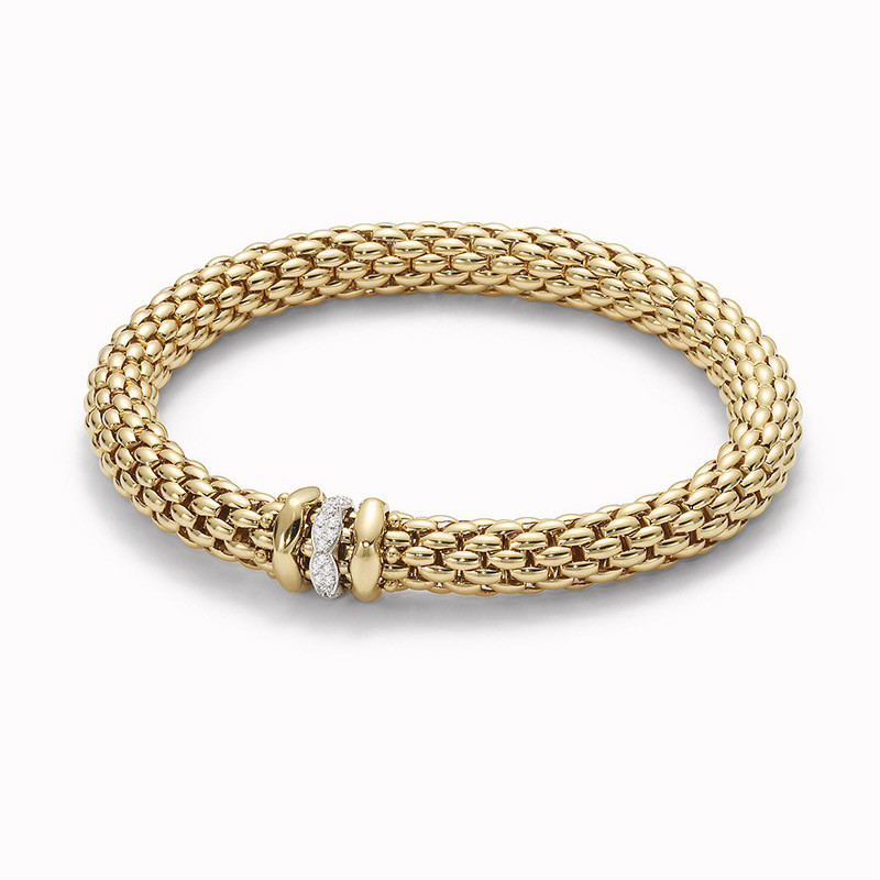 Fope Yellow Gold Flex It Love Next Diamond Bracelet