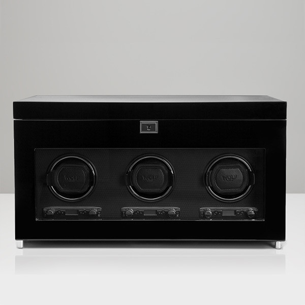 Wolf Black Triple Savoy Watch Winder with Storage Front View