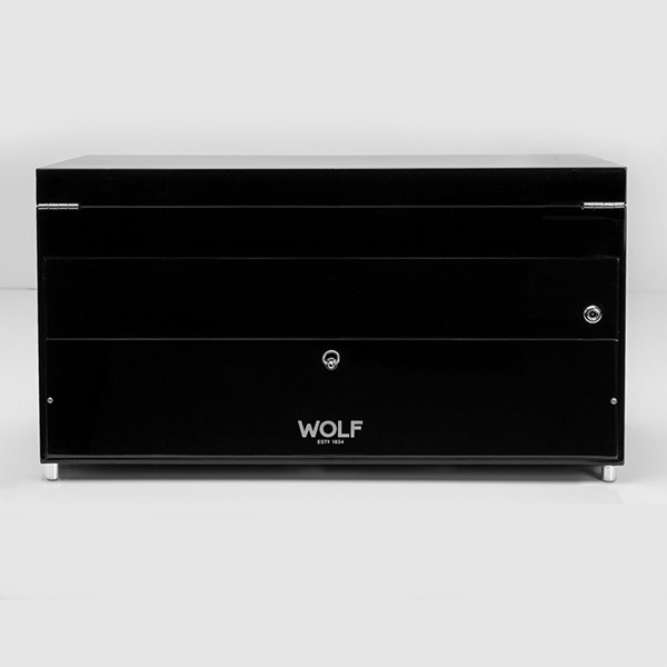 Wolf Black Triple Savoy Watch Winder with Storage Back View