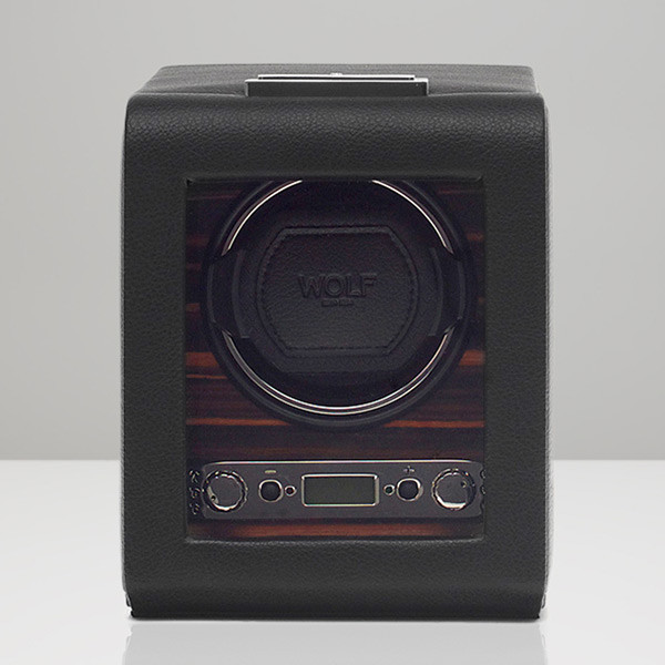 Wolf Black Single Roadster Watch Winder Front View