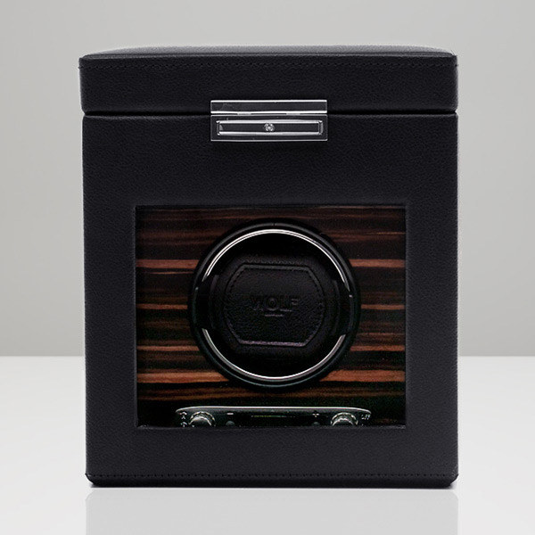 Wolf Black Single Roadster Watch Winder with Storage Front View