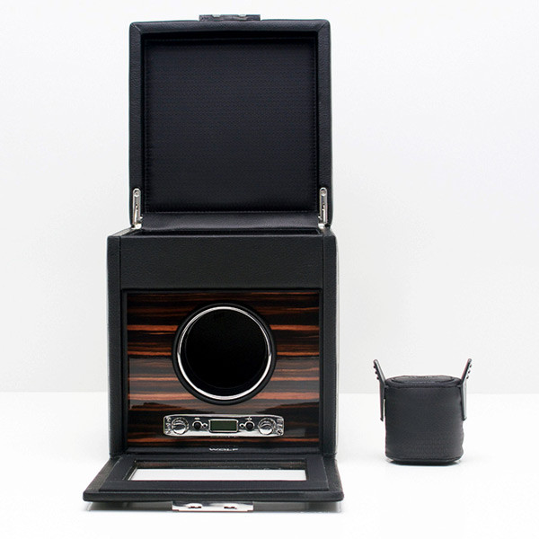 Wolf Black Single Roadster Watch Winder with Storage Open with Cuff