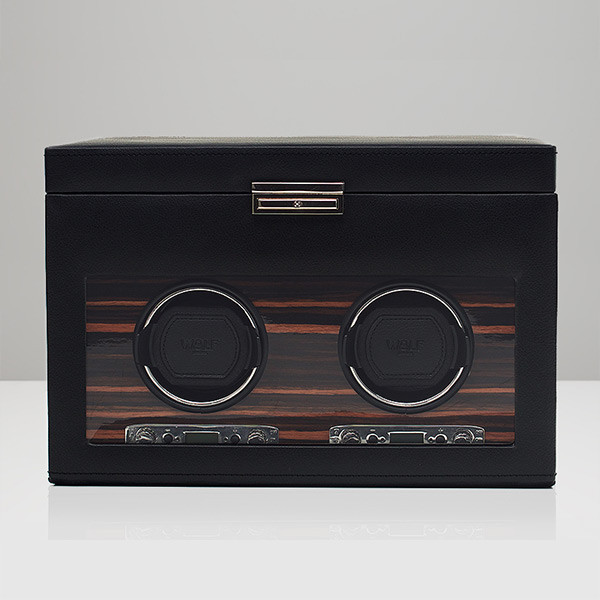 Wolf Black Double Roadster Watch Winder with Storage Front View