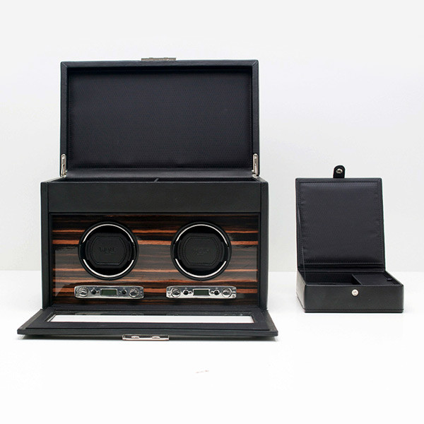Wolf Black Double Roadster Watch Winder with Storage Open with Storage Box