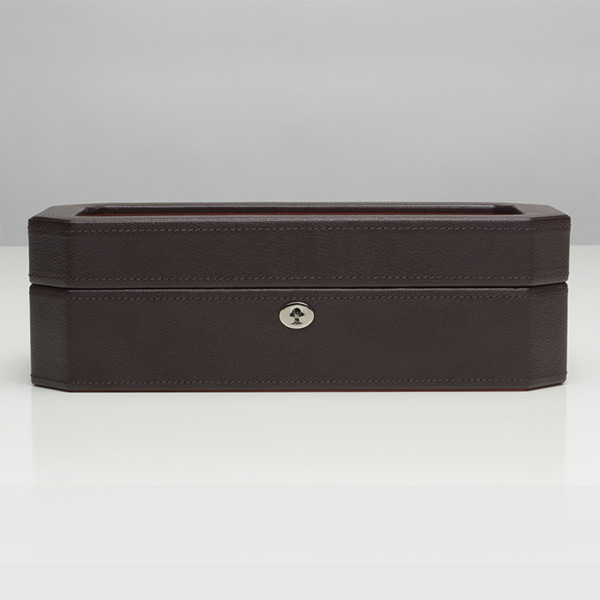 Wolf Brown & Orange Five Piece Windsor Watch Box Closed Front View