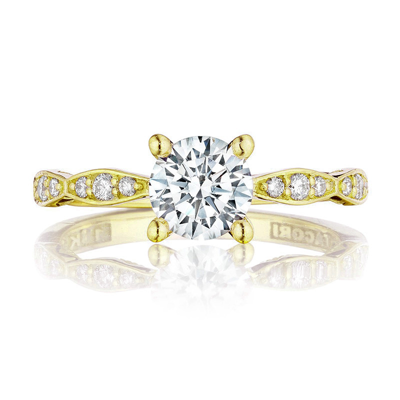 Tacori 46-2RD6 Yellow Gold Scallop Half Way Engagement Sculpted Crescent Setting Top View