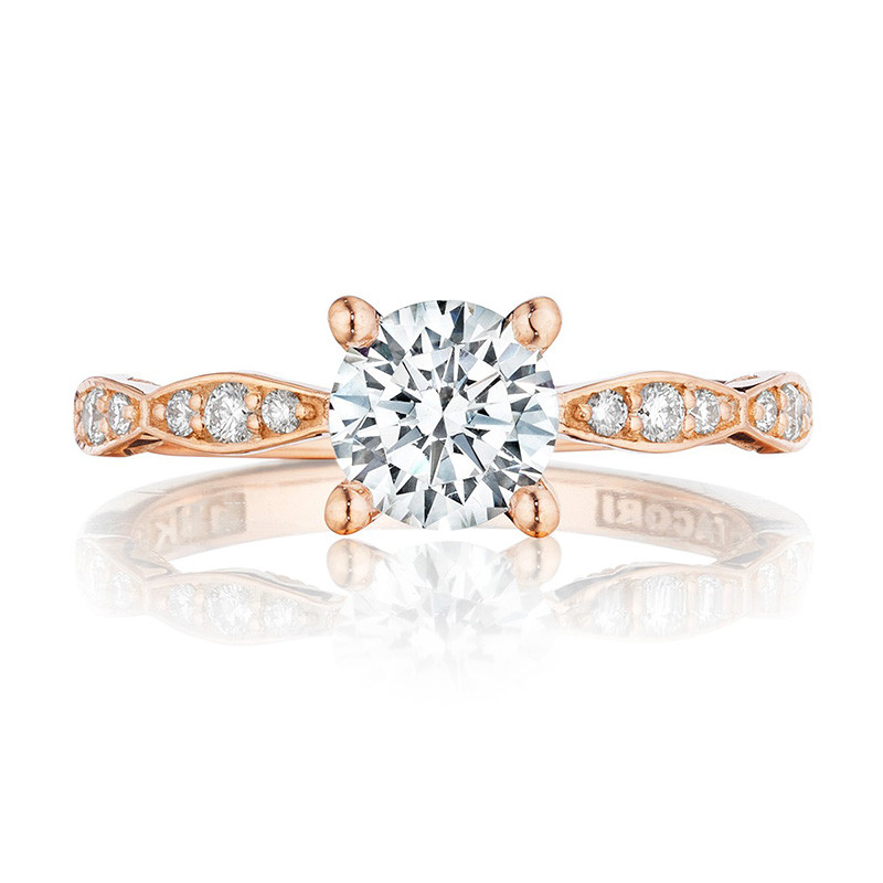 Tacori 46-2RD5.5 Rose Gold Scallop Half Way Engagement Sculpted Crescent Setting Top View