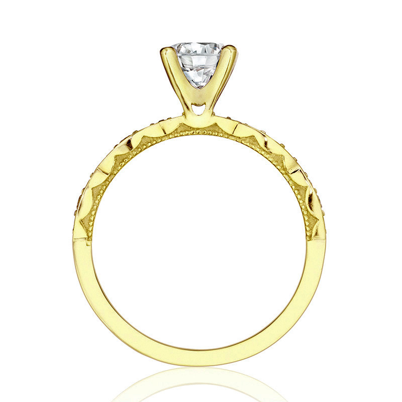 Tacori 46-2RD6 Yellow Gold Scallop Half Way Engagement Sculpted Crescent Setting Edge View