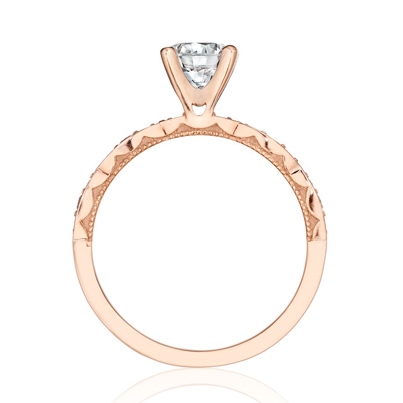 Tacori 46-2RD5.5 Rose Gold Scallop Half Way Engagement Sculpted Crescent Setting Edge View