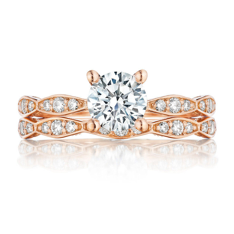 Tacori 46-2RD5.5 Rose Gold Scallop Half Way Engagement Sculpted Crescent Setting with Band
