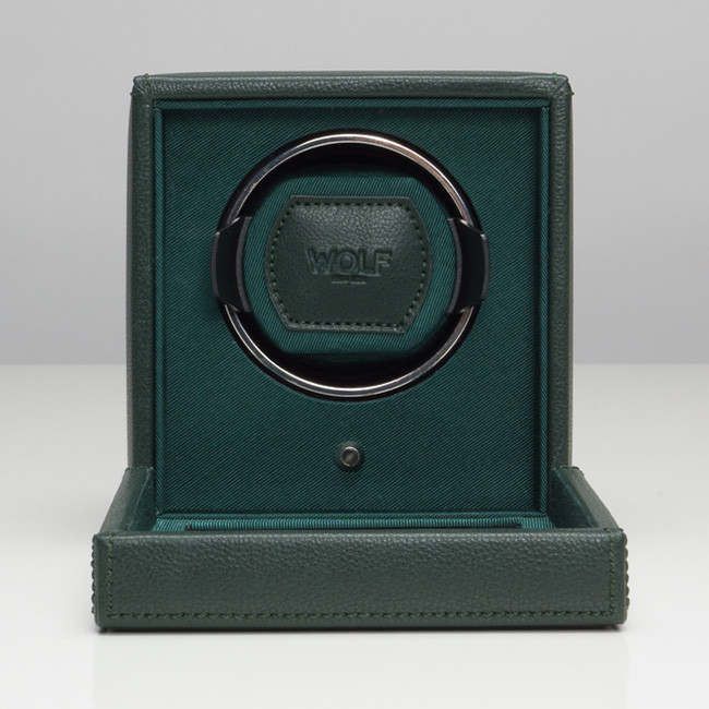 Wolf Green Leather Cub Cube Watch Winder Open View