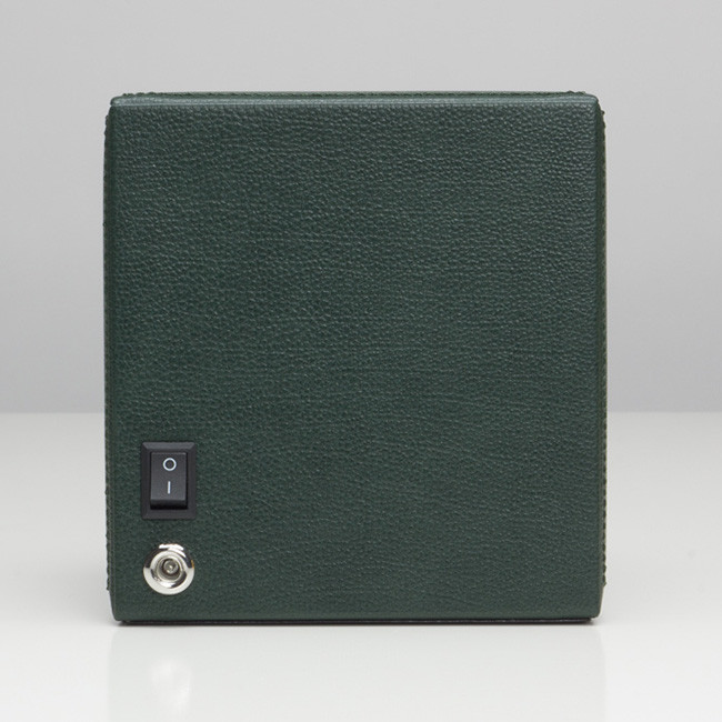 Wolf Green Leather Cub Cube Watch Winder Back View