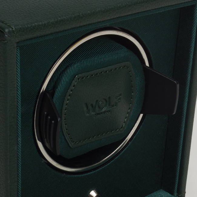 Wolf Green Leather Cub Cube Watch Winder Close Up View