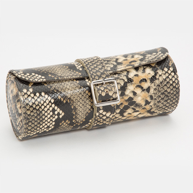 Wolf Blake Tan Python Leather Watch Roll Front View Side View
