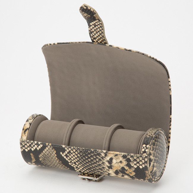 Wolf Blake Tan Python Leather Watch Roll Front View Open View