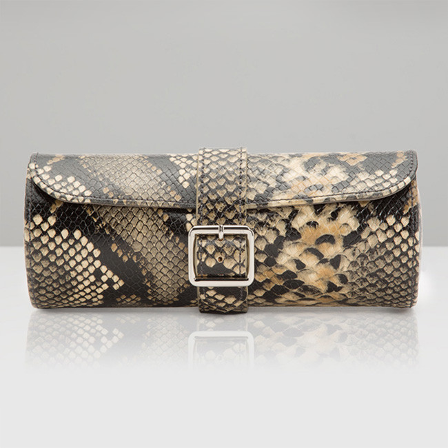 Wolf Blake Tan Python Leather Watch Roll Front View